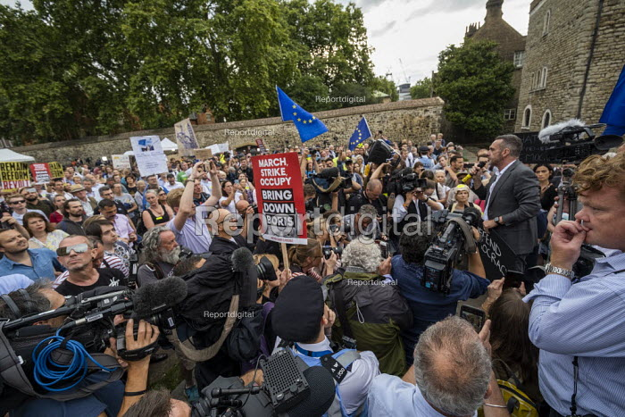 Paul Mason speaking Defend democracy, resist the Parliament Shutdown protest as the Queen agrees to suspend Parliament at Boris Johnsons request, College Green, Westminster, London - Jess Hurd - 2019-08-28