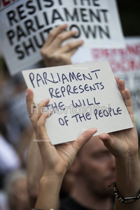 Defend democracy, resist the Parliament Shutdown protest as the Queen agrees to suspend Parliament at Boris Johnsons request, College Green, Westminster, London. - Jess Hurd - 2019-08-28