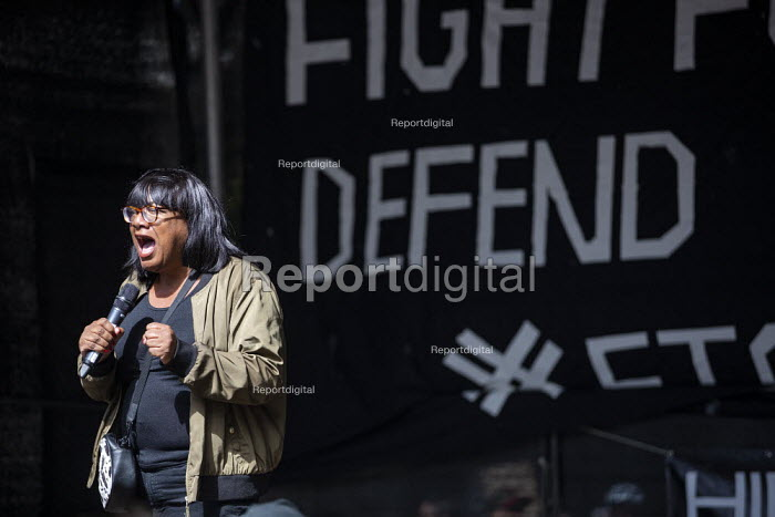 Diane Abbott MP speaking Stop The Coup, defend democracy protest, Downing Street, Westminster, London. - Jess Hurd - 2019-08-31