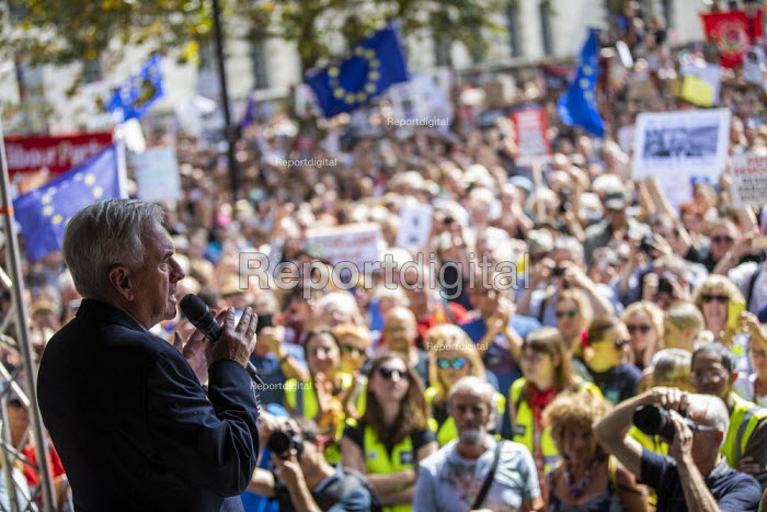 John McDonnell MP speaking Stop The Coup, defend democracy protest, Downing Street, Westminster, London - Jess Hurd - 2019-08-31