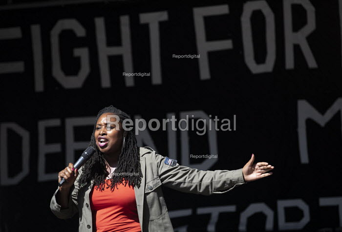 Dawn Butler MP speaking Stop The Coup, defend democracy protest, Downing Street, Westminster, London. - Jess Hurd - 2019-08-31