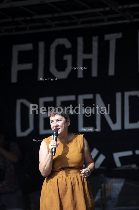Mary Bousted NEU speaking Stop The Coup, defend democracy protest, Downing Street, Westminster, London. - Jess Hurd - 2019-08-31