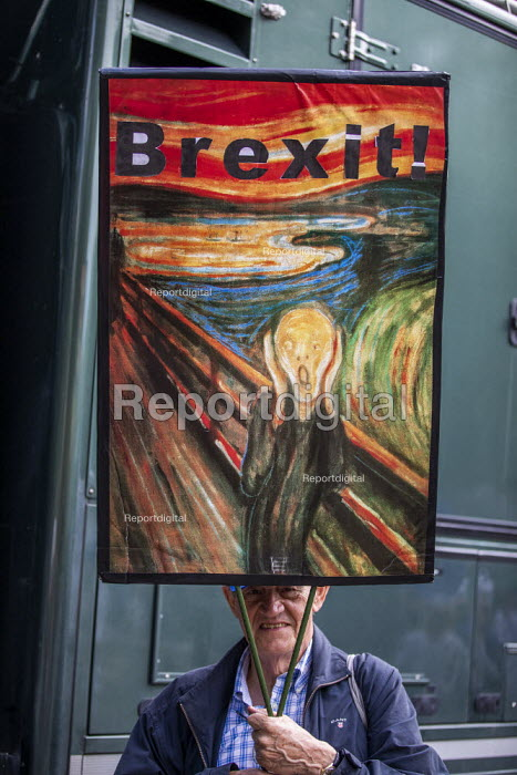 Stop The Coup protests for and against the government during the Brexit vote, Westminster, London. The Scream by Edvard Munch - Jess Hurd - 2019-09-03