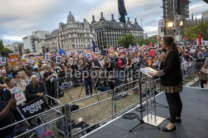 Laura Pidock MP speaking Stop Boris Johnson - General Election Now, People's Assembly Against Austerity protest, Parliament Square, Westminster, London. - Jess Hurd - 2019-09-03