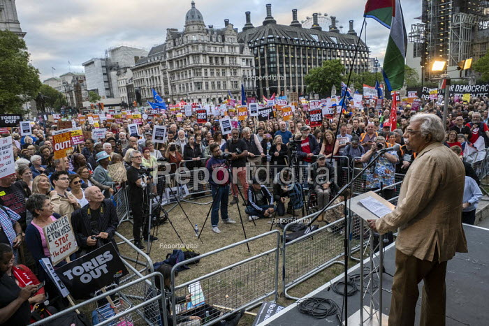 Tariq Ali addressing Stop Boris Johnson - General Election Now, People's Assembly Against Austerity protest, Parliament Square, Westminster, London. - Jess Hurd - 2019-09-03