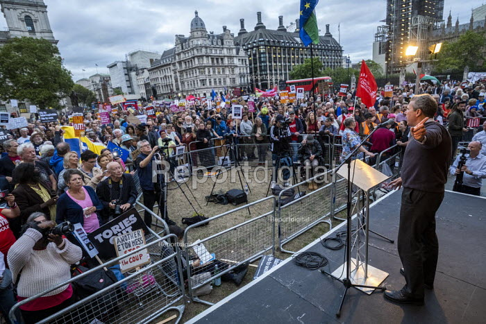 Mark Serwotka PCS speaking Stop Boris Johnson - General Election Now, People's Assembly Against Austerity protest, Parliament Square, Westminster, London. - Jess Hurd - 2019-09-03
