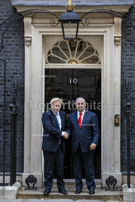 Benjamin Netanyahu is welcomed by Boris Johnson into No. 10 Downing Street, Westminster, London. - Jess Hurd - 2019-09-05