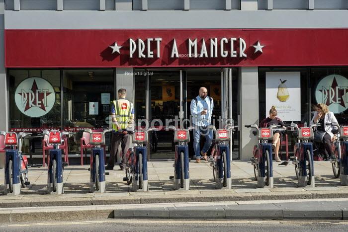 Santander Cycles public bicycle hire scheme, Pret A Manger sandwich bar, City of London - Philip Wolmuth - 2019-08-13