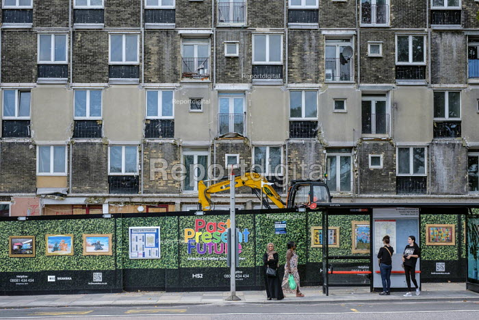 Early stage of demolition of Silverdale House, Regent's Park Estate, Camden. The site is required to make way for the HS2 high speed rail track. - Philip Wolmuth - 2019-08-30