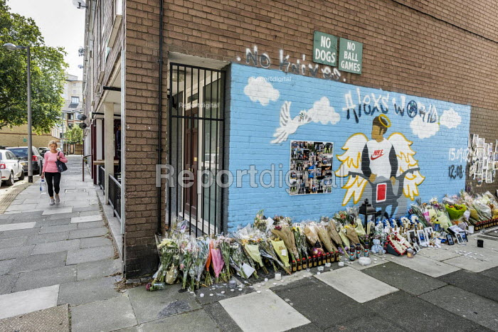 Mural and flowers commemorating the fatal stabbing of 16 year old Alex Smith in August 2019, Munster Square, Regent's Park Estate, Camden, London - Philip Wolmuth - 2019-08-30