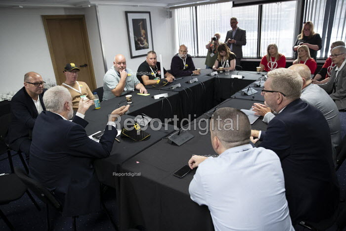 Jeremy Corbyn meeting striking workers from Harland and Wolf shipyard and striking Health Visitors, TUC Congress, Brighton 2019. - Jess Hurd - 2019-09-10