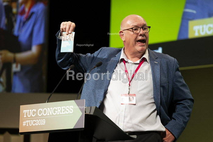 Dave Ward CWU speaking TUC Conference, Brighton, 2019 - John Harris - 2019-09-13