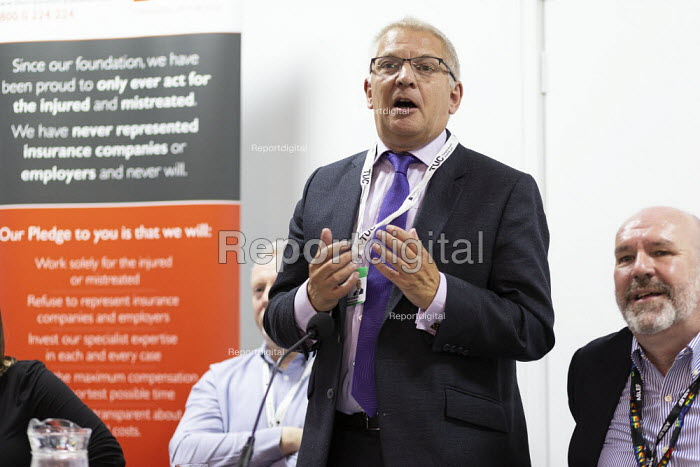 Stephen Cavalier, Thompsons Solicitors, Mick Whelan ASLEF, Justice for Colombia fringe meeting fringe meeting, TUC Conference, Brighton, 2019 - John Harris - 2019-09-14