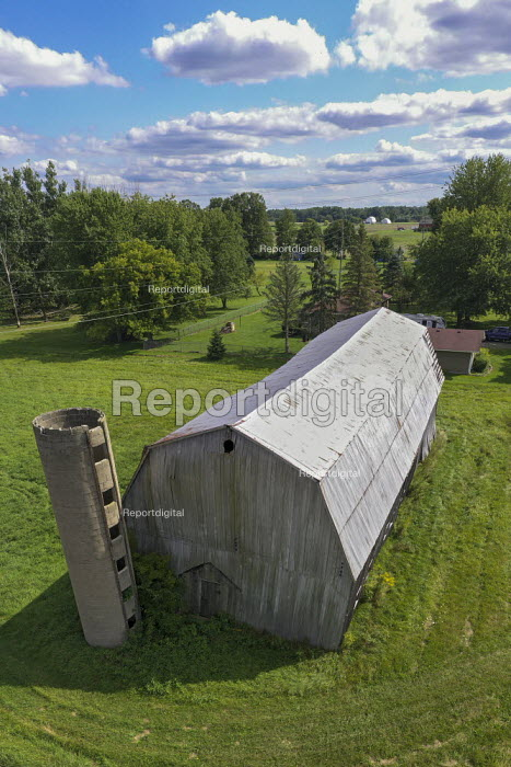 Adair, Michigan, USA: Old barn with the remains of a concrete gain silo - Jim West - 2019-09-05
