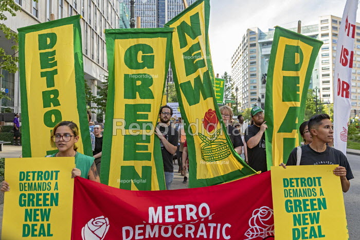 Detroit, Michigan, USA Global Climate Strike protest. Green New Deal - Jim West - 2019-09-20