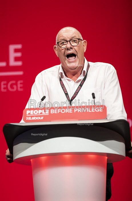 Dave Ward CWU speaking Labour Party Conference, Brighton, 2019 - Jess Hurd - 2019-09-23