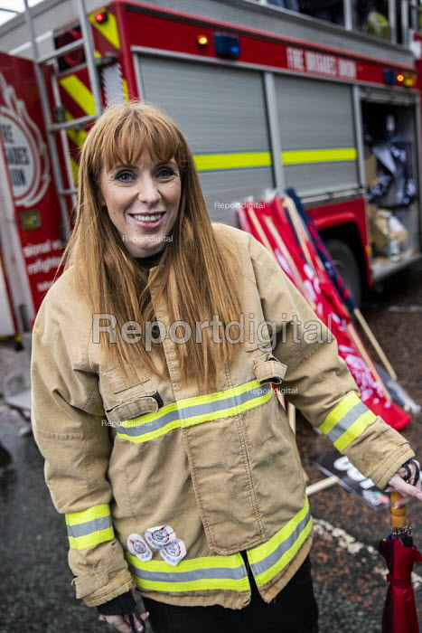 Angela Rayner MP in firefighters jacket, End Austerity Now, Protest the Tory Party Conference, Manchester, 2019 - Jess Hurd - 2019-09-29