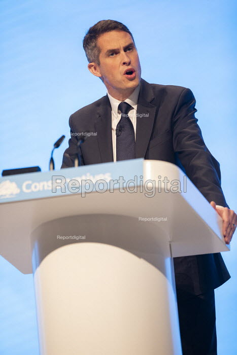 Gavin Williamson MP speaking, Conservative Party Conference, Manchester, 2019 - Jess Hurd - 2019-09-30