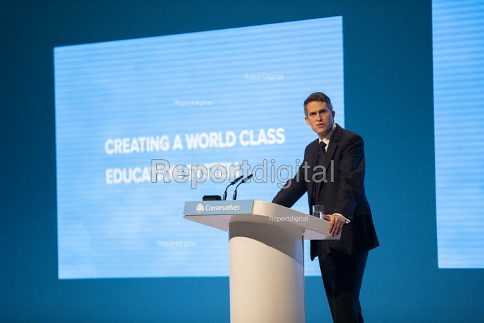 Gavin Williamson MP speaking Education debate at Conservative Party Conference, Manchester, 2019 - Jess Hurd - 2019-09-30