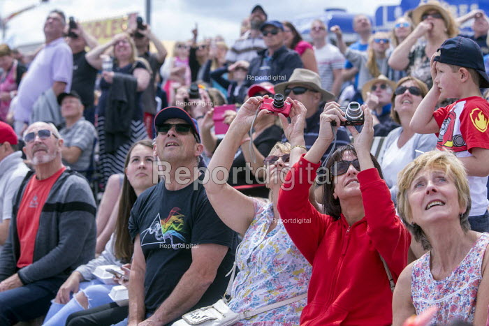 Crowd watching RAF Red Arrows Display Team performing, Torbay Airshow 2017 - Paul Box - 2017-05-03