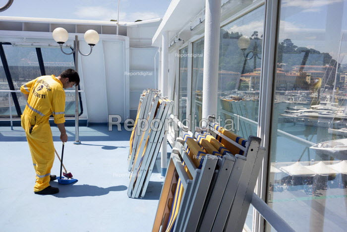 Cleaners working, Corsica Ferries - Sardinia Ferries ship, Nice, France - Paul Box - 2013-07-02