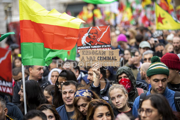 Stop the Turkish Invasion of Rojava protest, London. Kurdistan Solidarity Campaign Rise up for Rojava rally against against the war on Kurds in Syria. Erdogan is a War Criminal - Jess Hurd - 2019-10-13