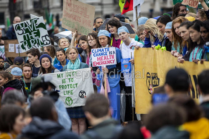 Extinction Rebellion protest Medical Students for Climate Justice, Trafalgar Square, London. - Jess Hurd - 2019-10-12