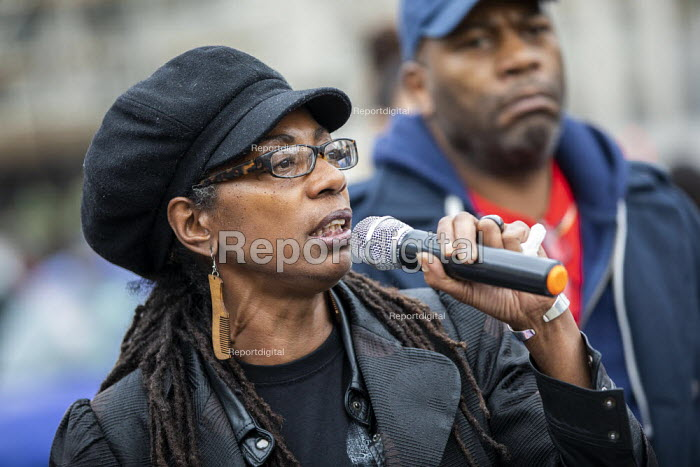 Marcia Rigg, sister of Sean Rigg speaking, Annual United Families and Friends Campaign march against deaths in police custody, Whitehall, Westminster, London. - Jess Hurd - 2019-10-26