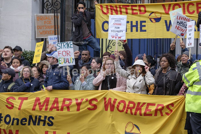 UVW pay and conditions strike, Sodexo, St. Mary's Hospital, London. Migrant cleaners, caterers and porters outsourced by Imperial College Healthcare NHS Trust to French multinational Sodexo, demanding parity with the rates paid to NHS workers. The workers are migrants from all over the world, including Philippines, Lithuania, Portugal, Sierra Leone and Brazil - Philip Wolmuth - 2019-10-28