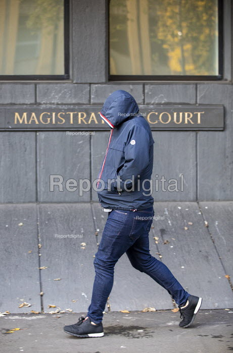 Defendant arriving at Owen Jones assault hearing, Highbury Corner Magistrates Court, London. Three men have been charged over an assault on Guardian journalist Owen Jones outside a London pub - Jess Hurd - 2019-11-06
