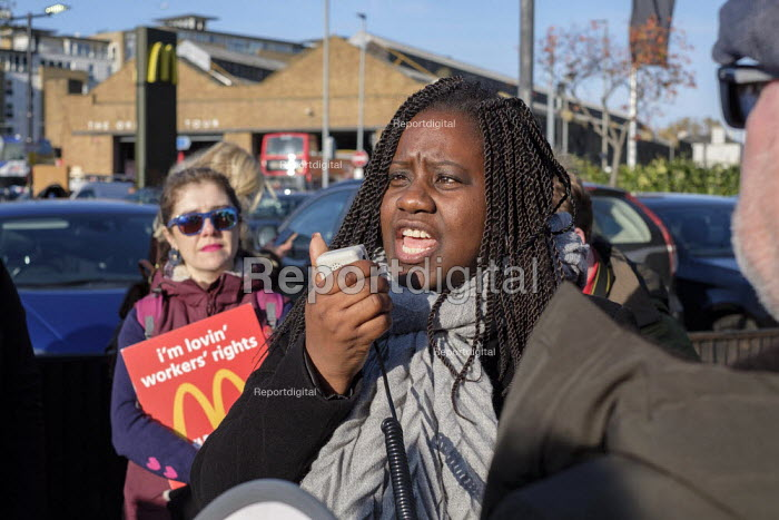 Marsha de Cordova, Labour Party PPC speaking McDonalds workers strike over low pay, picket Wandsworth Town branch, London - Philip Wolmuth - 2019-11-12