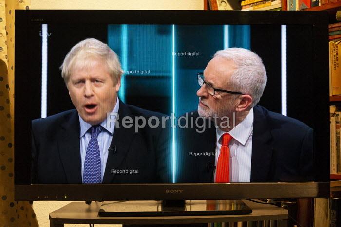 ITV general election debate, Boris Johnson, Jeremy Corbyn debating on TV - John Harris - 2019-11-19