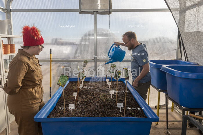 Hanksville, Utah, USA: Researchers simulate living on Mars at the Mars Desert Research Station. 'Expedition Boomerang' brought Australian researchers to the station. Guy Murphy watering plants in the GreenHab which is devoted to crop studies, as Jennifer Lane watching - Jim West - 2019-11-13