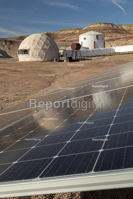 Hanksville, Utah, USA: Mars Desert Research Station. Researchers simulate living on Mars. A 15 kW solar panel system provides electricity to the station. - Jim West - 2019-11-13