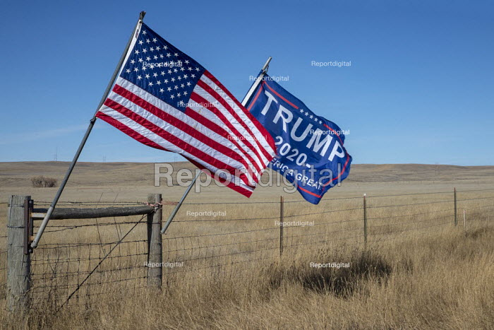 Wright, Wyoming, USA Trump 2020 and American flag on a ranch - Jim West - 2019-11-07