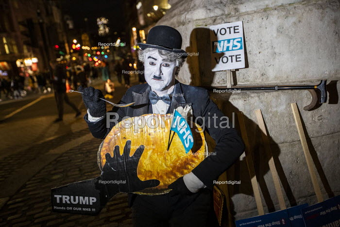 Charlie Chaplin, NHS Not for Sale, No to Trump, No to NATO Protest London - Jess Hurd - 2019-12-03