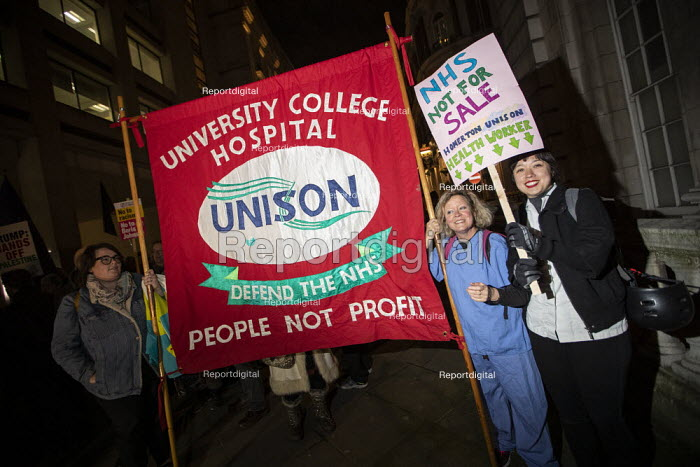 Unison banner, NHS Not for Sale, No to Trump, No to NATO Protest London - Jess Hurd - 2019-12-03