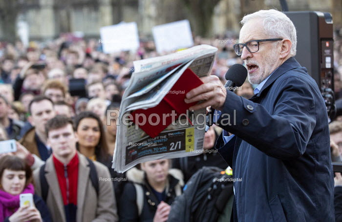 Jeremy Corbyn speaking with Mirror front page, Labour Party Election Campaign Rally Bristol. The Mirror front page story with a photograph of a four year old boy with Pneumonia who had to sleep on the floor of an NHS hospital in Leeds - Paul Box - 2019-12-09