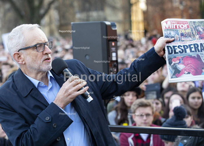 Jeremy Corbyn speaking with Mirror front page, Labour... - Paul Box, PB1219031.JPG