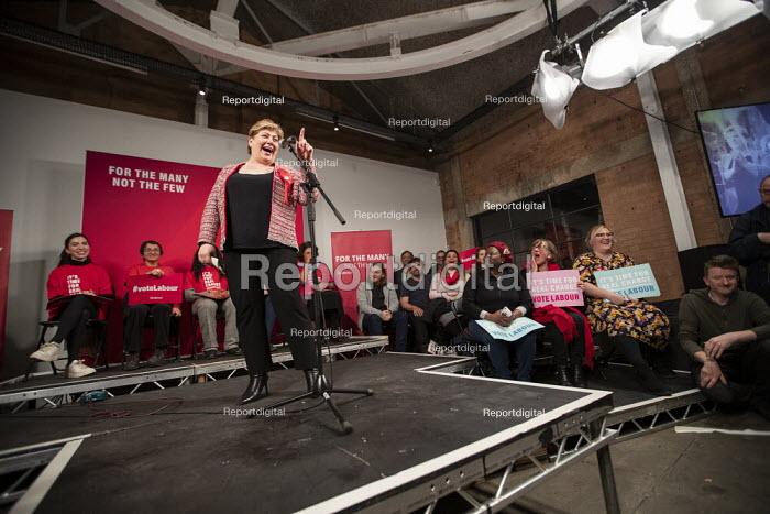 Emily Thornberry speaking general election rally, Hoxton Docks, Hackney, East London - Jess Hurd - 2019-12-11