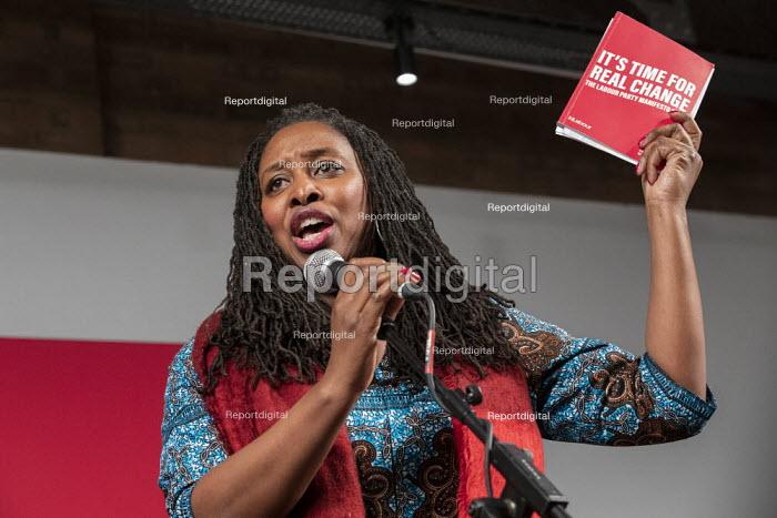 Dawn Butler speaking general election rally, Hoxton Docks, Hackney, East London - Jess Hurd - 2019-12-11