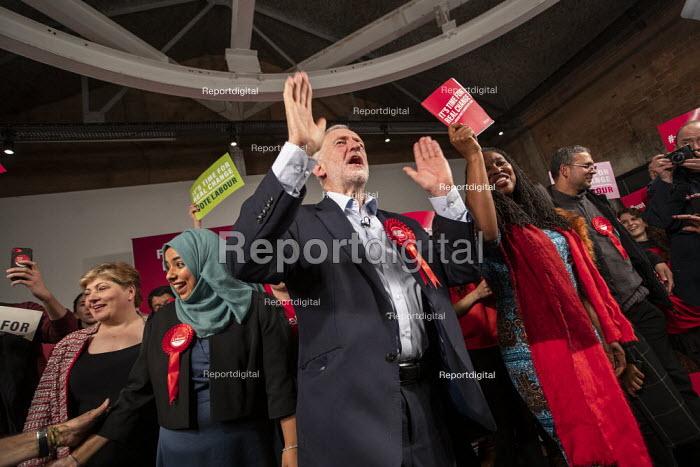 Jeremy Corbyn speaking, general election rally, Hoxton Docks, Hackney, East London. - Jess Hurd - 2019-12-11
