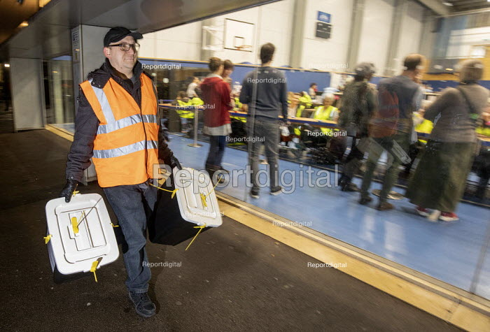 Ballot boxes arriving, vote counting, Bristol - Paul Box - 2019-12-12