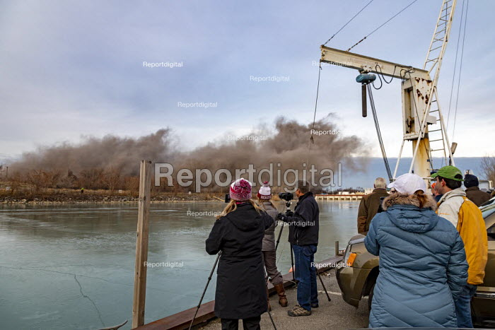 Detroit, Michigan USA. Explosive demolition of Conners Creek power plant, DTE Energy. The plant initially burned coal but later switched to natural gas. It closed in 2008. The site will be used by Fiat Chrysler to park cars built at its new assembly plant being built nearby. - Jim West - 2019-12-13