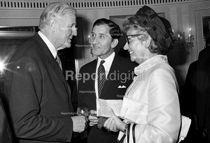 Cecil King meeting Mary Whitehouse, Foyles Literary Luncheon, London, 1971 as guest of honour. Newspaper magnate Cecil King was involved in a 1968 plot to bring down the Wilson Government. - Martin Mayer - 1971-10-07