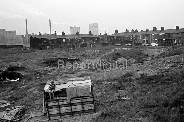 Boy playing on waste ground, St Helens, Lancashire 1971 - NLA - 1971-06-04