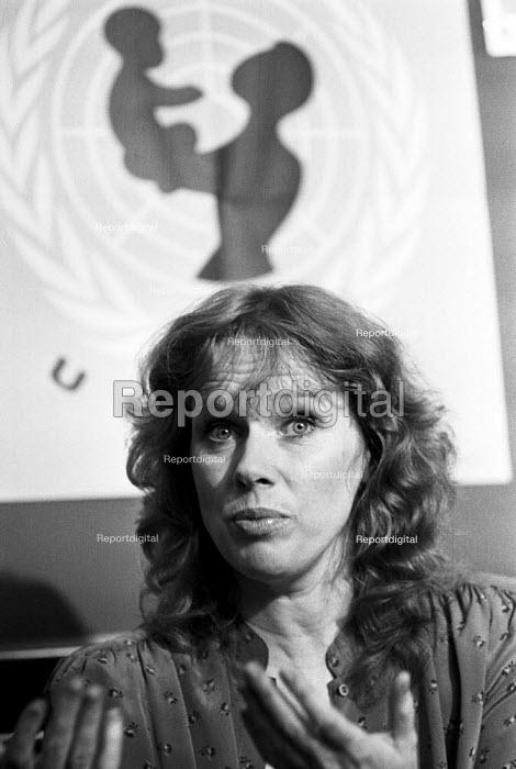 Liv Ullman, London 1983, Norwegian actress, film director and UNICEF Goodwill Ambassador, UNICEF press conference - NLA - 1983-06-14