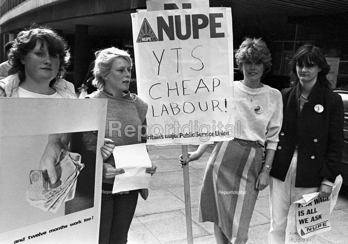 YTS Cheap Labour! 1984 lobby of government offices by NUPE against the Youth Training Scheme (YTS), London - NLA - 1984-05-01