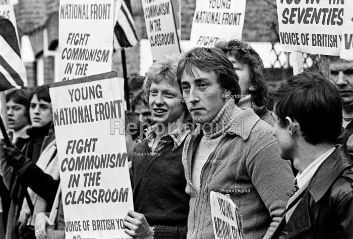 National Front youth protest ILEA film studios, Battersea, South London, 1978. Fight Communism in the Classroom - NLA - 1978-01-21