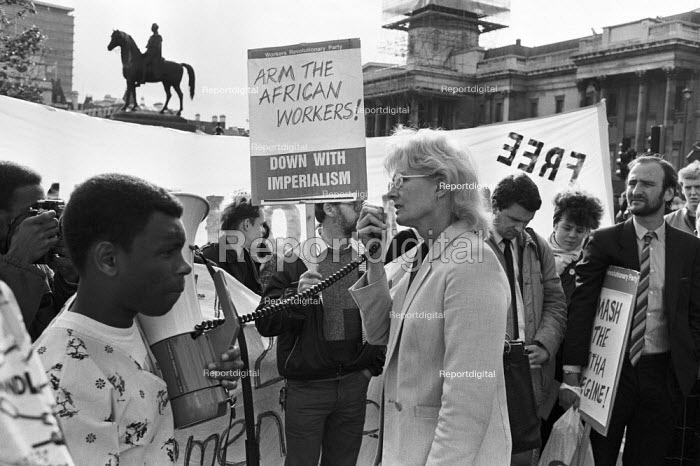 Vanessa Redgave speaking 1985, 24 hour Anti Apartheid picket, South African Embassy, Trafalgar Square, London - NLA - 1985-06-07